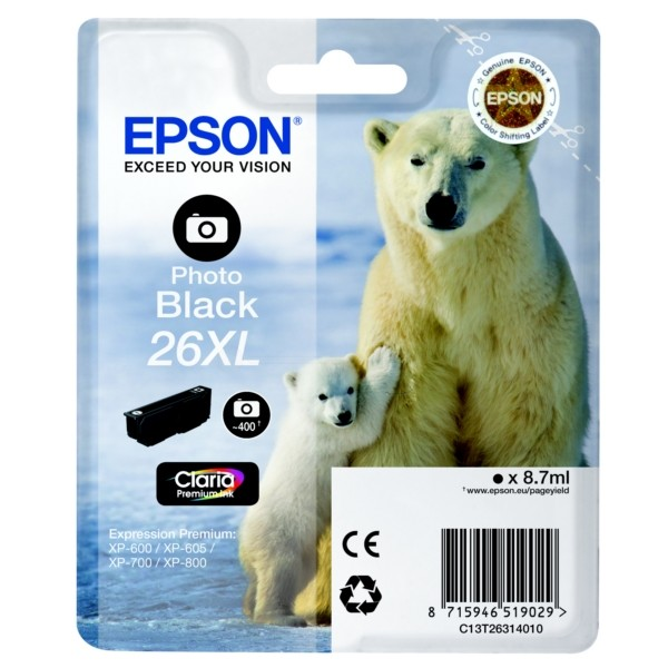 Epson C13T26314012 8.7ml 400pagina's Zwart inktcartridge